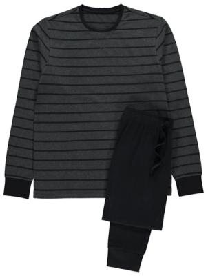 Grey Striped Long Sleeve Pyjamas