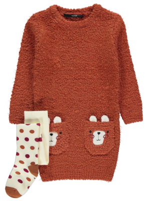 Brown Bear Pocket Knitted Dress and Tights Outfit