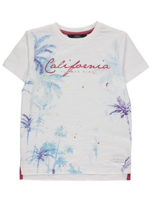 White Fadeout Palm Print California Slogan T-Shirt