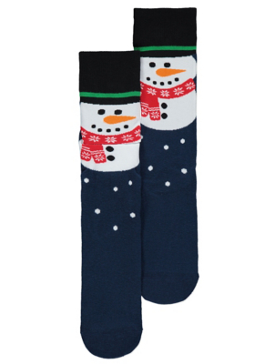 Navy Snowman Musical Christmas Socks