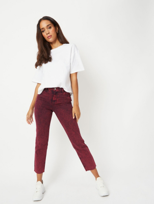 Burgundy Acid Wash Denim Straight Leg Jeans