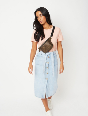 Light Wash Denim Button Midi Skirt