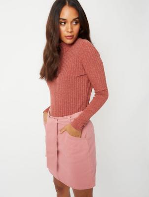 Pink Denim Tie Waist Skirt
