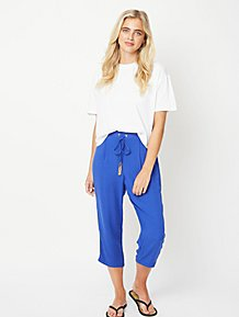 46690e6f703d Blue Tapered Tassel Culottes