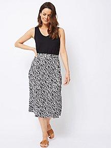 29148f96d7b Zebra Print Buttoned Side Tiered Midi Skirt