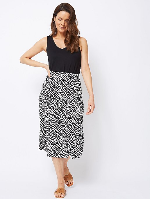 497e088459 Zebra Print Buttoned Side Tiered Midi Skirt | Women | George