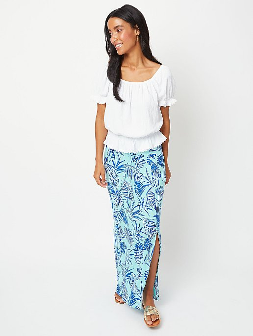0ec877a5887f3 Turquoise Palm Print Woven Maxi Skirt | Women | George
