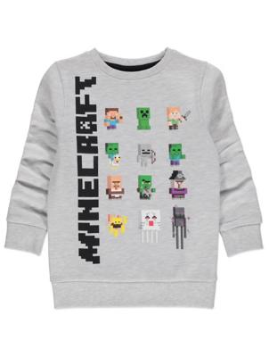 Minecraft Character Grey Marl Sweatshirt