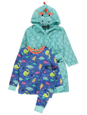 Blue Dinosaur Long Sleeve Pyjamas and Dressing Gown Set