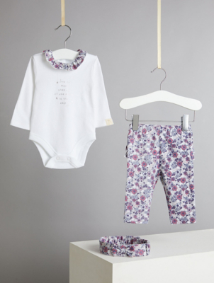Billie Faiers White Floral Trim Bodysuit Ruffled Leggings and Headband Outfit