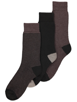 Brown Striped Viloft Thermal Socks
