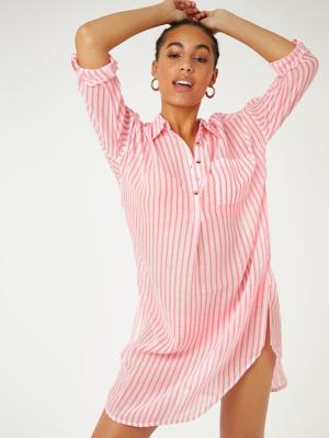 Pink Striped Beach Cover Up Shirt Dress
