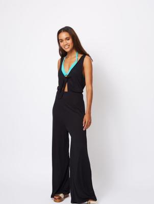 Black Knot Front Jersey Sleeveless Jumpsuit