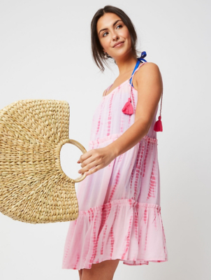 Pink Tiered Tie Dye Cover Up Dress