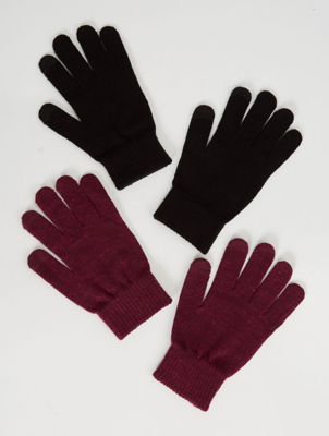 Red Shimmer Touch Screen Gloves 2 Pack