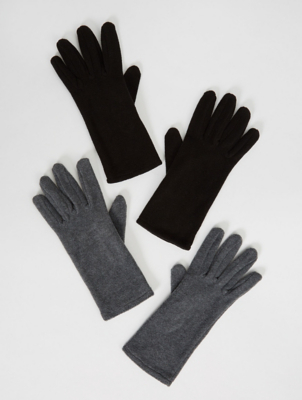 Grey Heart Embroidered Touch Screen Gloves 2 Pack