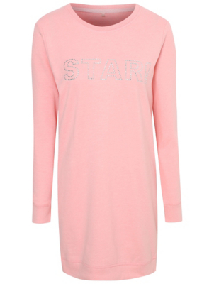 Tickled Pink Diamanté Star Slogan Longline Sweatshirt Nightdress