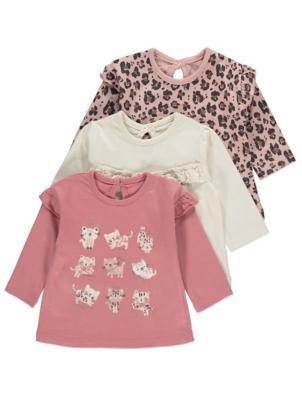 Pink Leopard Print Kitten Tops 3 Pack