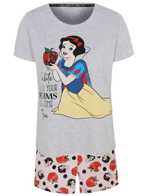 Disney Snow White Sequin Slogan Short Pyjamas
