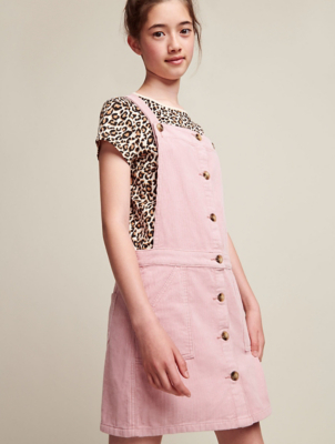 Pale Pink Corduroy Pinafore Dress