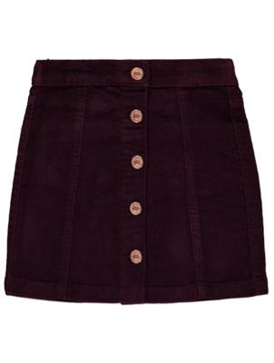 Burgundy Cord Button Midi Skirt