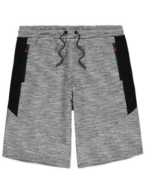Grey Marl Panel Jersey Shorts