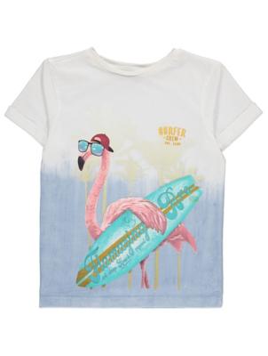 Blue Ombré Surfing Flamingo T-Shirt