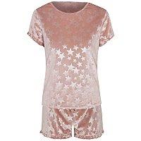Tickled Pink Velour Star Print Short Pyjamas by Asda