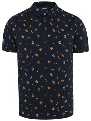 Navy Gingerbread Man Print Christmas Polo Shirt