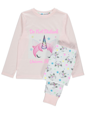 Emoji® Pink Unicorn Slogan Sequin Pyjamas