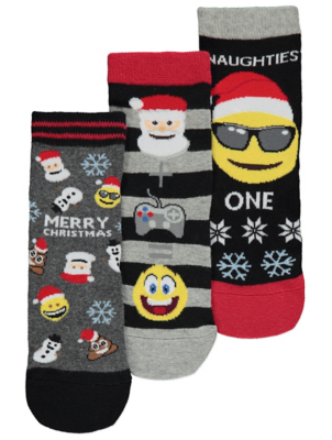 Emoji® Christmas Socks 3 Pack