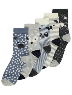 Blue Animal Ankle Socks 5 Pack