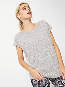5275dcdca34b Grey Textured Roll Sleeve Sports T-Shirt