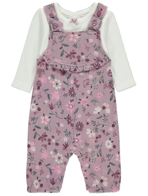 Lilac Floral Dungarees and Bodysuit Outfit