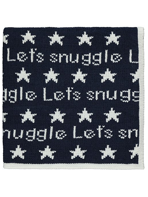 Navy Chenille Knitted Shawl Baby George