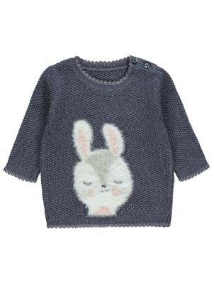 Navy Glitter Plush Bunny Waffle Knit Jumper