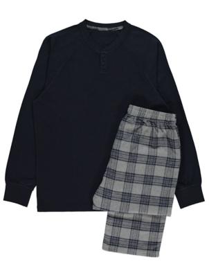 Navy Woven Check Waffle Pyjamas
