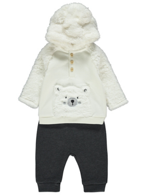 White Faux Fur Polar Bear Hoodie and Jogging Bottoms Outfit
