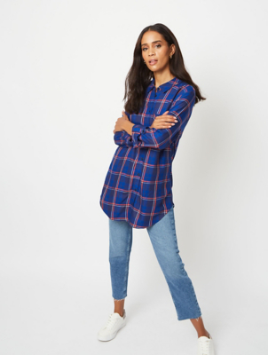 Royal Blue Checked Longline Shirt