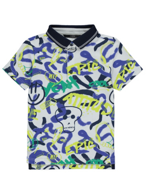 Blue Graffiti Print Polo Shirt