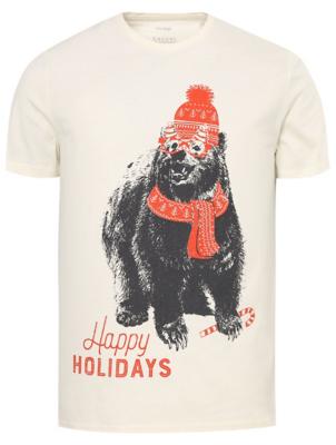Cream Christmas Bear T-Shirt