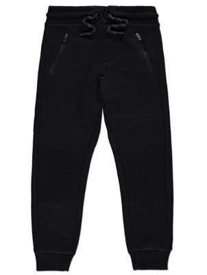 Black Ribbed Panel Joggers