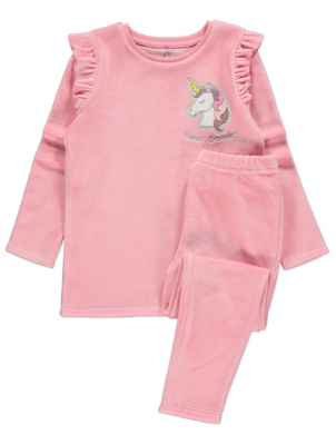 Pink Velour Unicorn Pyjamas