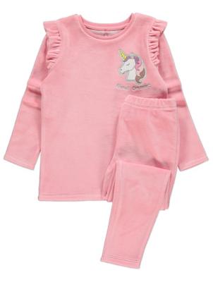 Pink Velour Unicorn Pyjamas