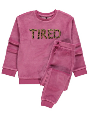 Pink Velour Tired Slogan Pyjamas