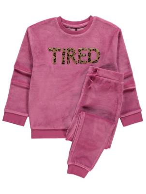Pink Velour Tired Slogan Pyjamas