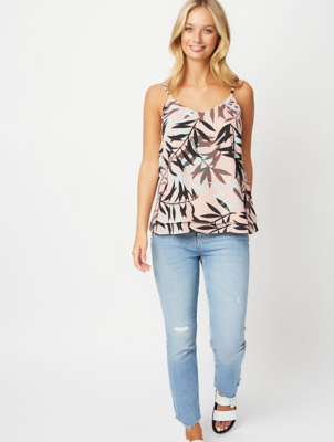 Pink Leaf Print Double Layer Camisole Top