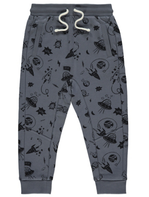 Grey Space Print Jogging Bottoms