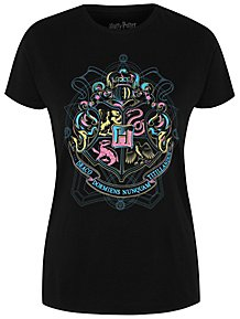 f6c4f957 Harry Potter Black Glitter Hogwarts Logo T-Shirt