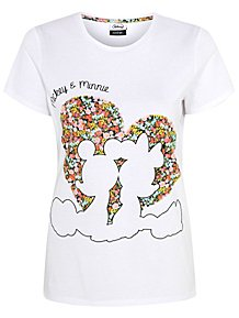 4e09fbee7 Disney Mickey and Minnie Mouse Floral Heart T-Shirt